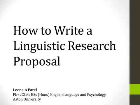 How to write a Linguistic Research Proposal