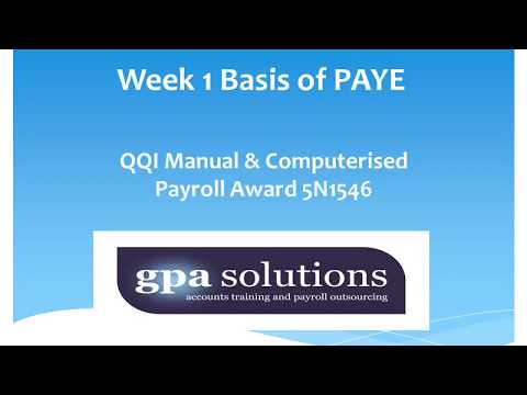 Week 1 Basis of PAYE