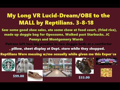 My Reptilian Abduction to Battlefield Mall.VR-Lucid Dream. Distracting Me, While Doing 'sex'.