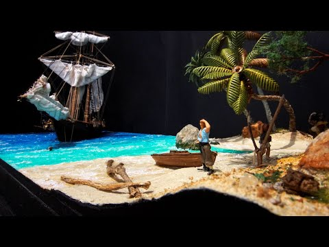 Pirate Ship Diorama Start to Finish: Part 4 - Waves, Beach and Landscape Detailing
