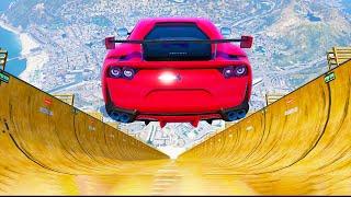 Super Cars vs MEGA RAMP In GTA 5
