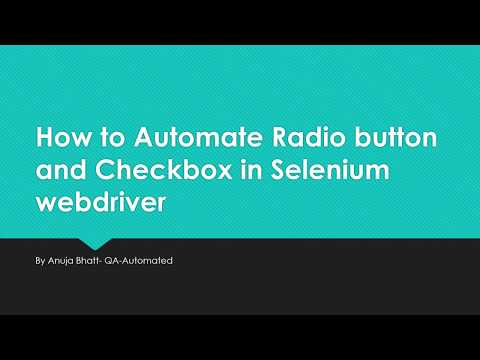 How to Automate Radio button and Checkbox in Selenium webdriver