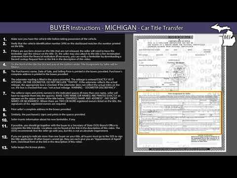Michigan Title Transfer BUYER Instructions