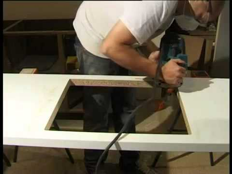 Mark Two Fitting - Maia worktops, cutting out for a sink or hob