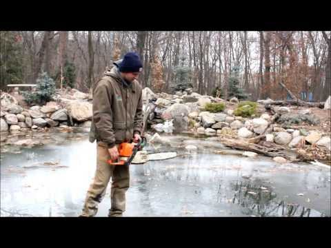 Winter Koi Pond Management with a Chainsaw!