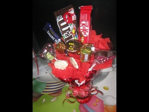 how to make chocolate & candy bouquet.