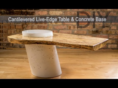DIY Live Edge Table w/ White Concrete Base || How to Make