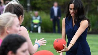 Meghan Markle Plays Football With Kids