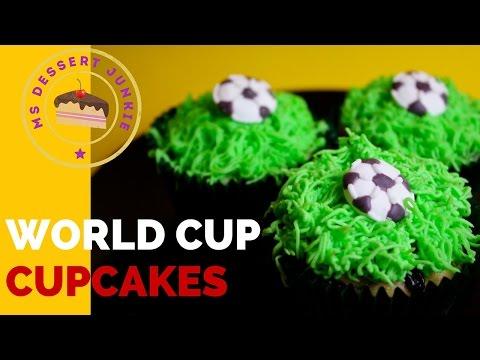 WORLD CUP SOCCER FOOTBALL CUPCAKE RECIPE  | MsDessertJunkie