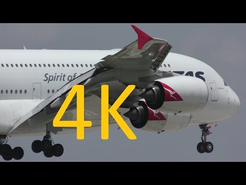 Dallas-Fort Worth 4K Planespotting: A380 go-around and widebody landings