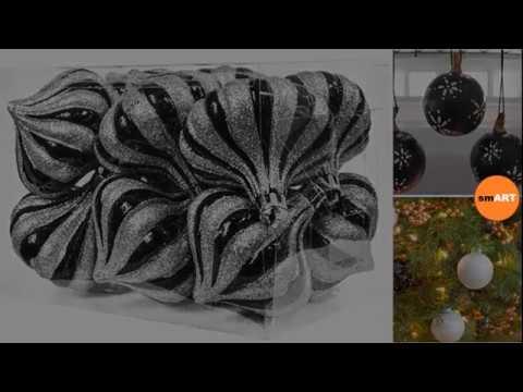 Black Christmas Ornaments - Glass Christmas Tree Ornaments