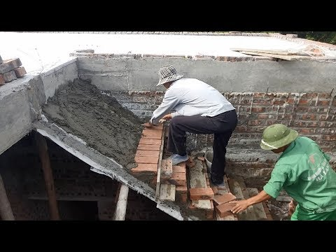 How to Build Stairs - Construction Stairs Made of Brick and Cement Sand Mixture