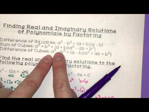 Finding Real and Imaginary Solutions of Polynomials by Factoring