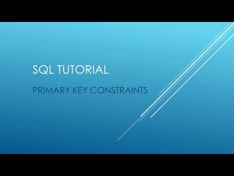 SQL Tutorial - PRIMARY KEY CONSTRAINTS