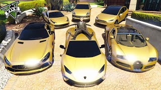 GTA 5 - Stealing Golden Luxury Cars with Michael!   GTA V (Real Life Cars)