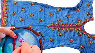 hand embroidery tutorial | hand embroidery beautiful dress design tutorial ***AMAZING stitch Trick