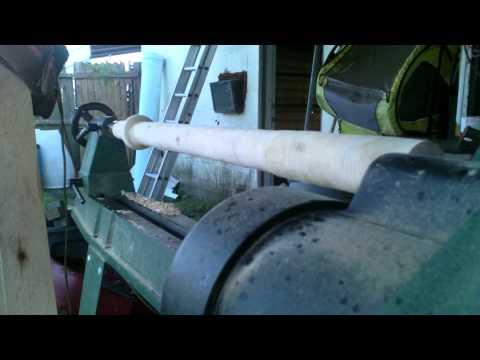Making a wooden sword on a lathe :-).  SethsstickS.com