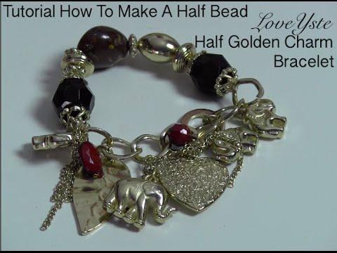 DIY - How To Make A Half Bead Half Golden Charm Bracelet (Easy Tutorial)