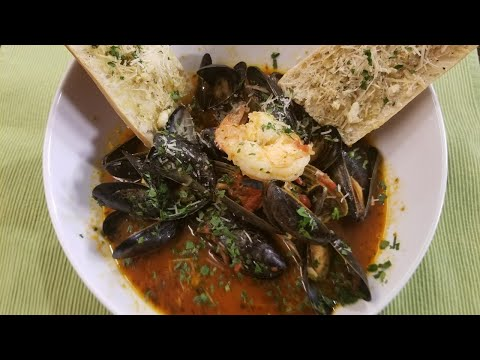In the Kitchen: Mussel Soup with Garlic and Parmesan Crostini