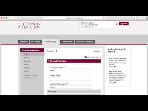 Common App 2017-2018 Overview