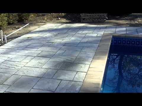 In-Ground Vinyl Liner Pool with Cantilever Paver Stone Deck MA