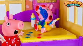 Toy Learning Video for Kids - ♥Peppa Pig♥ Babysitting Baby Alexander!