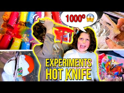 HOT Knife 🔥 VS PLAY-DOH, HOT GLUE, CRAYONS! 😱  EXPERIMENT Glowing 1000 degree KNIFE VS 5 OBJECTS!