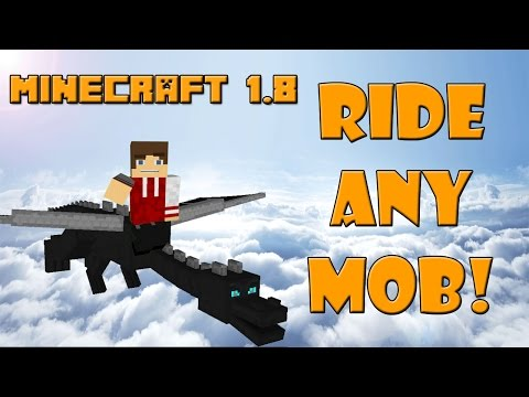 RIDE THE ENDER DRAGON! Minecraft 1.8 Ride-able Mobs (Animal Bike Mod)