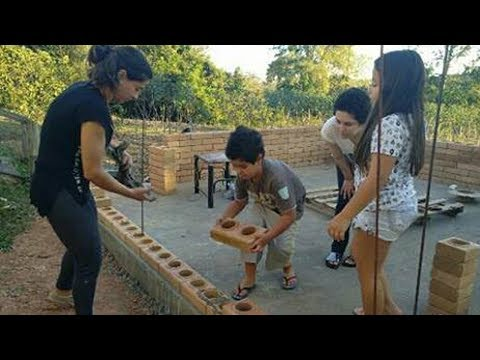 How to build house from foundation with tijolo blocks, interlocking brick for wall