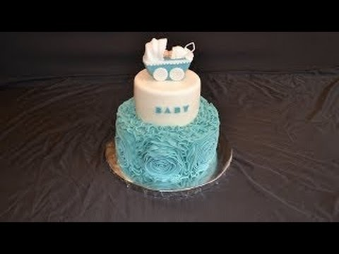 How to decorate a cake with fondant rosets or ribbon roses,rosette,ruffle cake tutorial