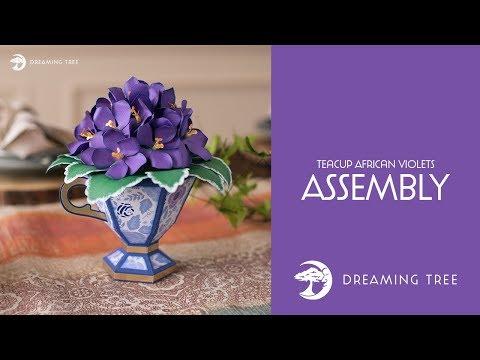 SVG File - Teacup African Violets - Assembly Tutorial