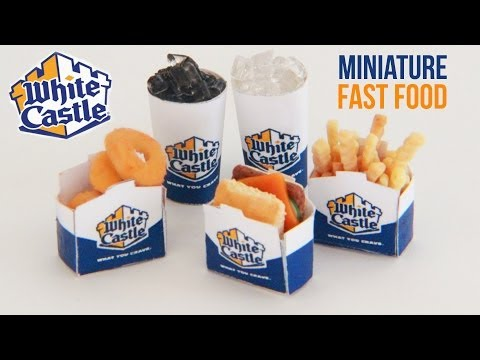 White Castle : How To Make Miniature Fast Food : Polymer Clay : Onions Rings, Sliders, Fries, Coke