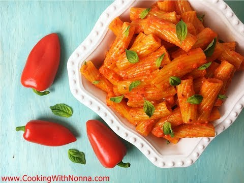 Rigatoni with Roasted Peppers Sauce  - Rossella's Cooking with Nonna