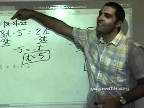 Algebra - Absolute Value Equations