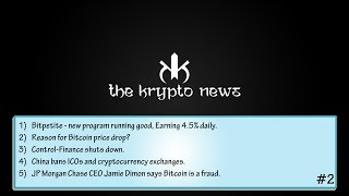 The Krypto News #2 - Bitcoin price drops   Control Finance shuts down   Bitpetite Earning Daily 4.5%