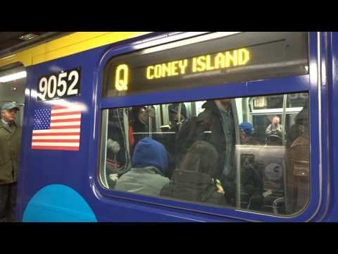 NYC Subway: Coney Island-bound R160 (Q) Entering & Leaving Times Square-42nd Street (Wrapped Set)