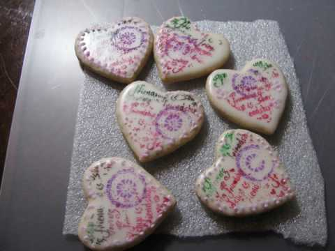 Hearts  royal icing  stamped series