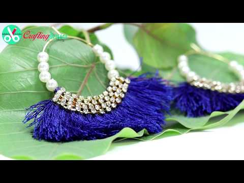 How to Make Silk Thread Tassel Earrings (2 designs) at Home Easily   by CraftingHours