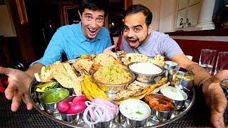 "Foreigner eats Modi Ji Ki 56"" Thali + INDIAN STREET FOOD in Delhi, India   BIGGEST Thali in Delhi"
