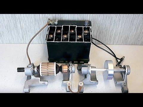 DC rotors rotation movement on ball bearings