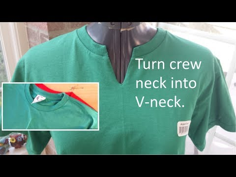 Change Crew Neck T-Shirt to V Neck - Hand Sewing