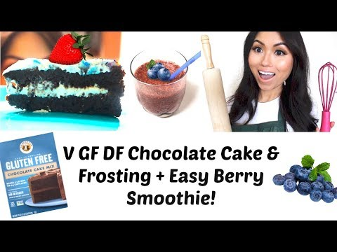 Chocolate Cake / Frosting + Easy Blueberry Smoothie! (Vegan Gluten & Dairy Free )