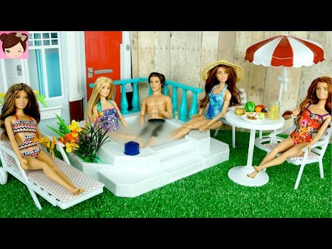 Barbie Doll  Jacuzzi Hot Tub Playset - Barbie Has a Party in her New Backyard - Titi Toys