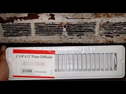 Remove old diffuser register and install FLOOR diffuser register