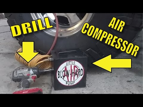 Drill powered Air Compressor from old fridge