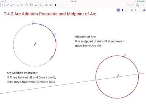 7.4.2 Arc Addition Postulate and Midpoint of Arc
