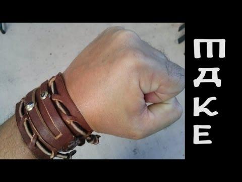 Men's leather bracelet / cuff / maker video
