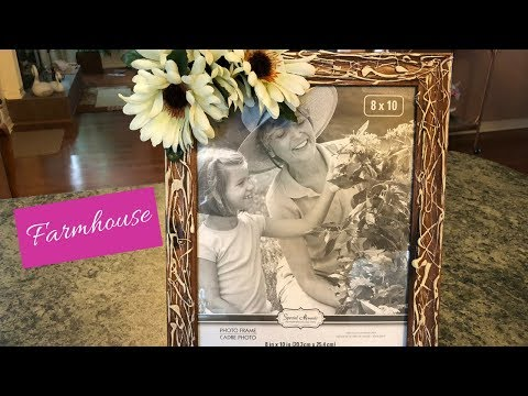 Dollar Tree Hot Glue And Paint Picture Frame Diy | Farmhouse