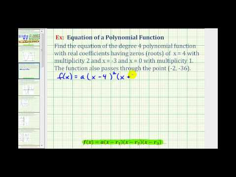 Ex 2:  Find a Polynomial Function Given the Zeros or Roots with Multiplicity and a Point