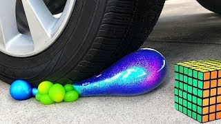 Crushing Crunchy & Soft Things by Car! - EXPERIMENT SLIME ANTISTRESS BALLS, TOYS, VS CAR and More